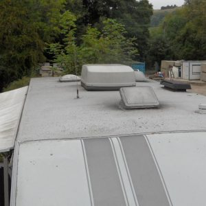 caravan roof leaking needs repair with liquid rubber coating