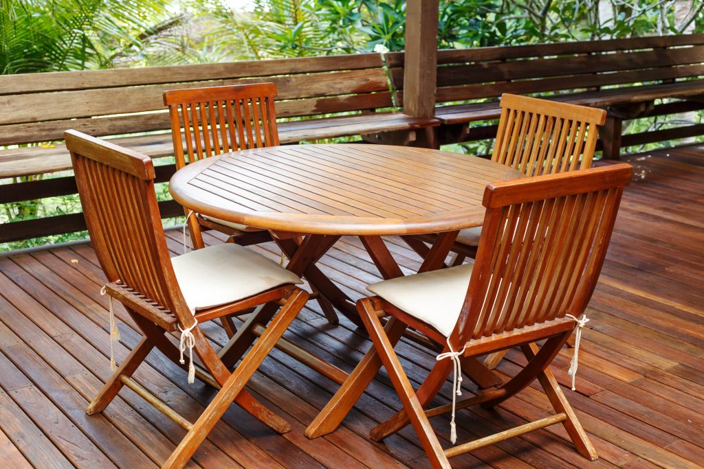 garden furniture treated with protective coating