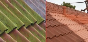painted roof tiles before and after